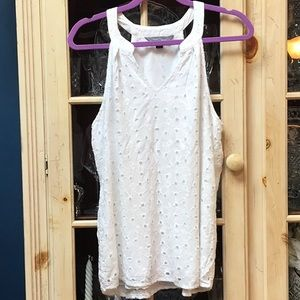 White eyelet lined top
